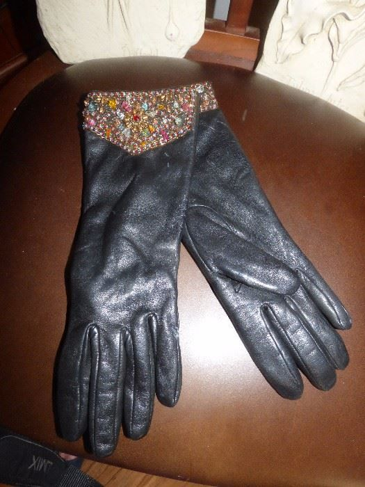 Found on EstateSales.NET: Classy bejeweled leather gloves