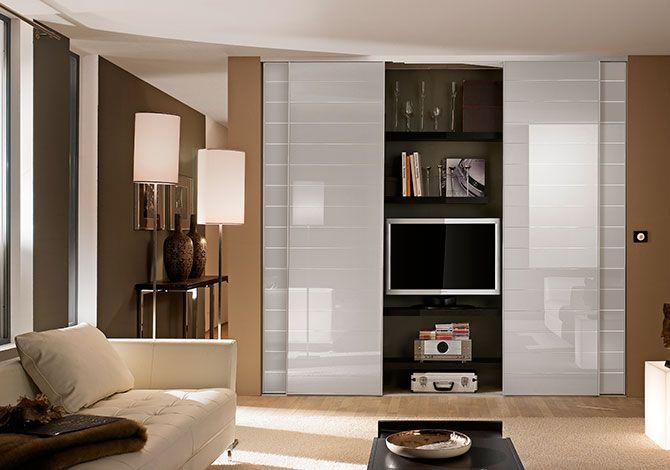 Portes placard verres laqués striés beige, profil aluminium gris - kit pour porte coulissante placard