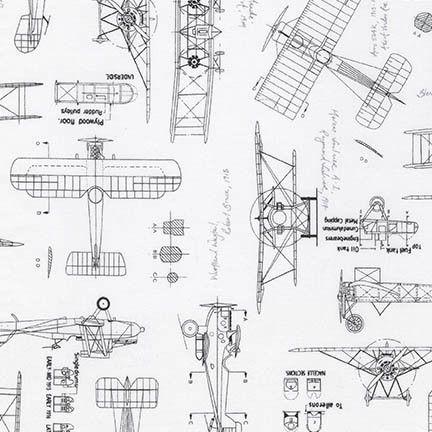 Vintage Blueprints Aviation Fabric / Plane Blueprints
