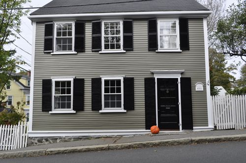 Gray exterior house color schemes olive gray and black for Classic house colors