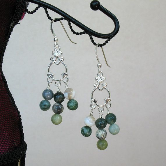 Green Jasper and Agate Conglomerate Earrings by SuellensCreations, $12.00