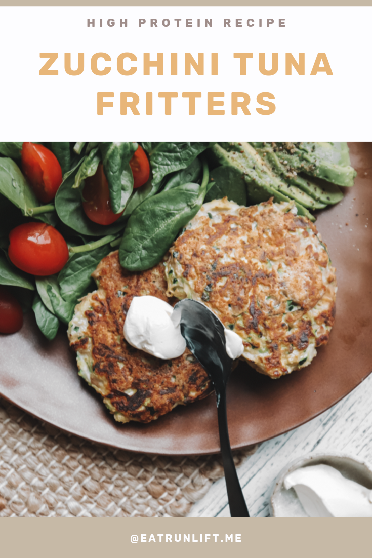 Recipe: Zucchini Tuna Fritters Zucchini tuna fritter high protein recipe // A few days ago I needed a new, small dish to add to my afternoons to help me hit my protein, but that would also give me room to have a bunch of veggies for the micronutrients and some fibre to keep me feeling satiated until my next meal. This is where this creation came in. | Rachel Aust | Wellness Coach | Personal Trainer | Nutritionist