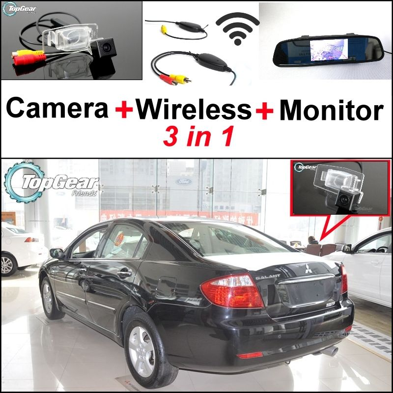 3 In1 Special Rear View Camera Wireless Receiver Mirror Monitor Easy Backup Parking System For Mitsubishi Galant Grunde Rear View Camera Car Camera Monitor