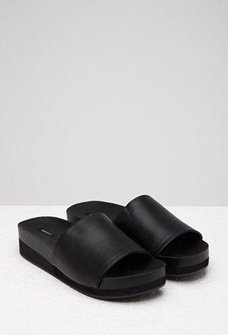 59558754c61e Faux Leather Platform Slides