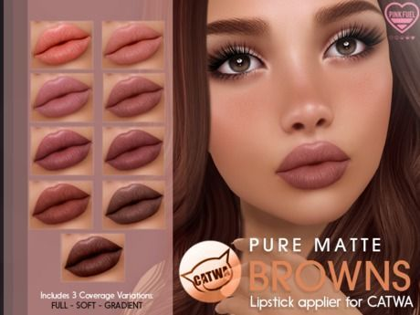 Photo of Second Life Marketplace – [PF] CATWA LIPSTICK – Pure Matte (Browns) –  All smooc…