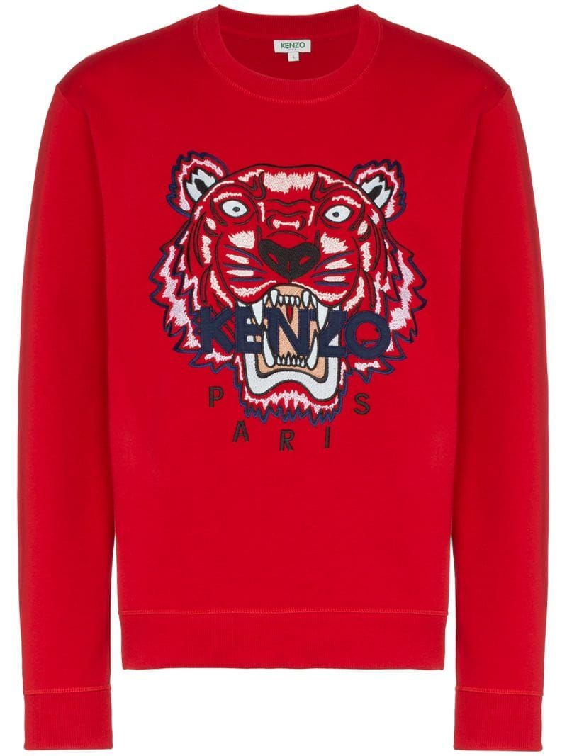 Kenzo Red Tiger Embroidered Cotton Sweatshirt | Sweatshirts