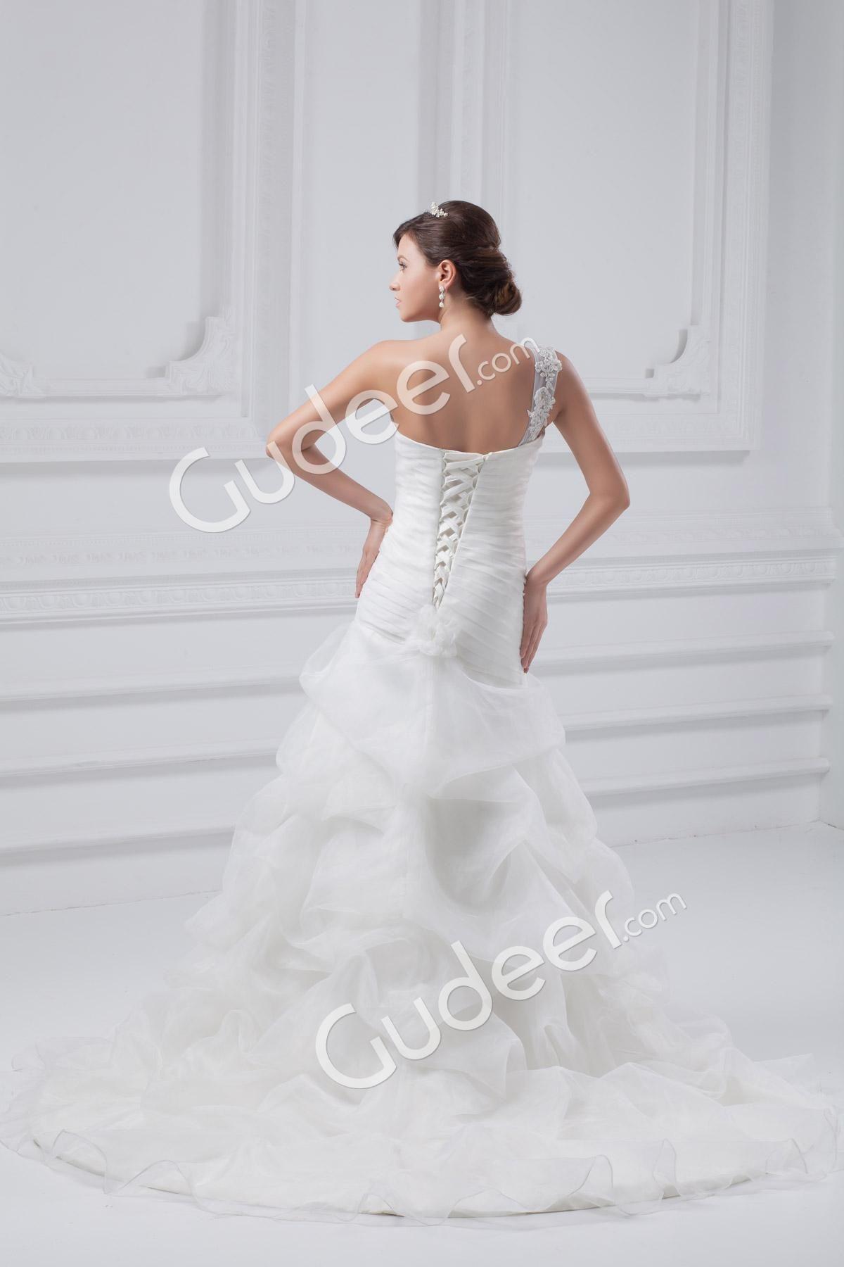 One Shoulder Strap Sweetheart Neck Pleated Organza Wedding Dress ...
