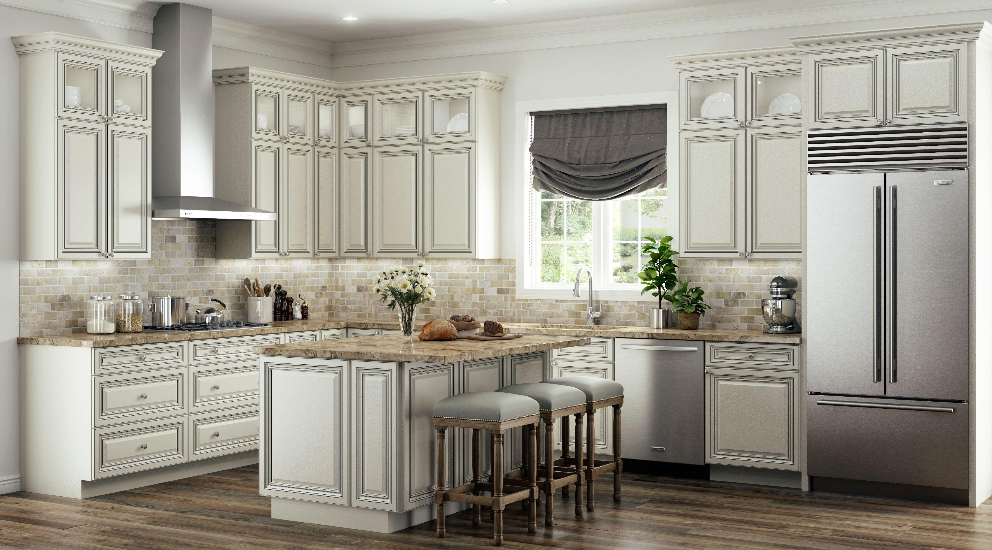 Antique White Glaze | Kitchen cabinet design, Glazed ...