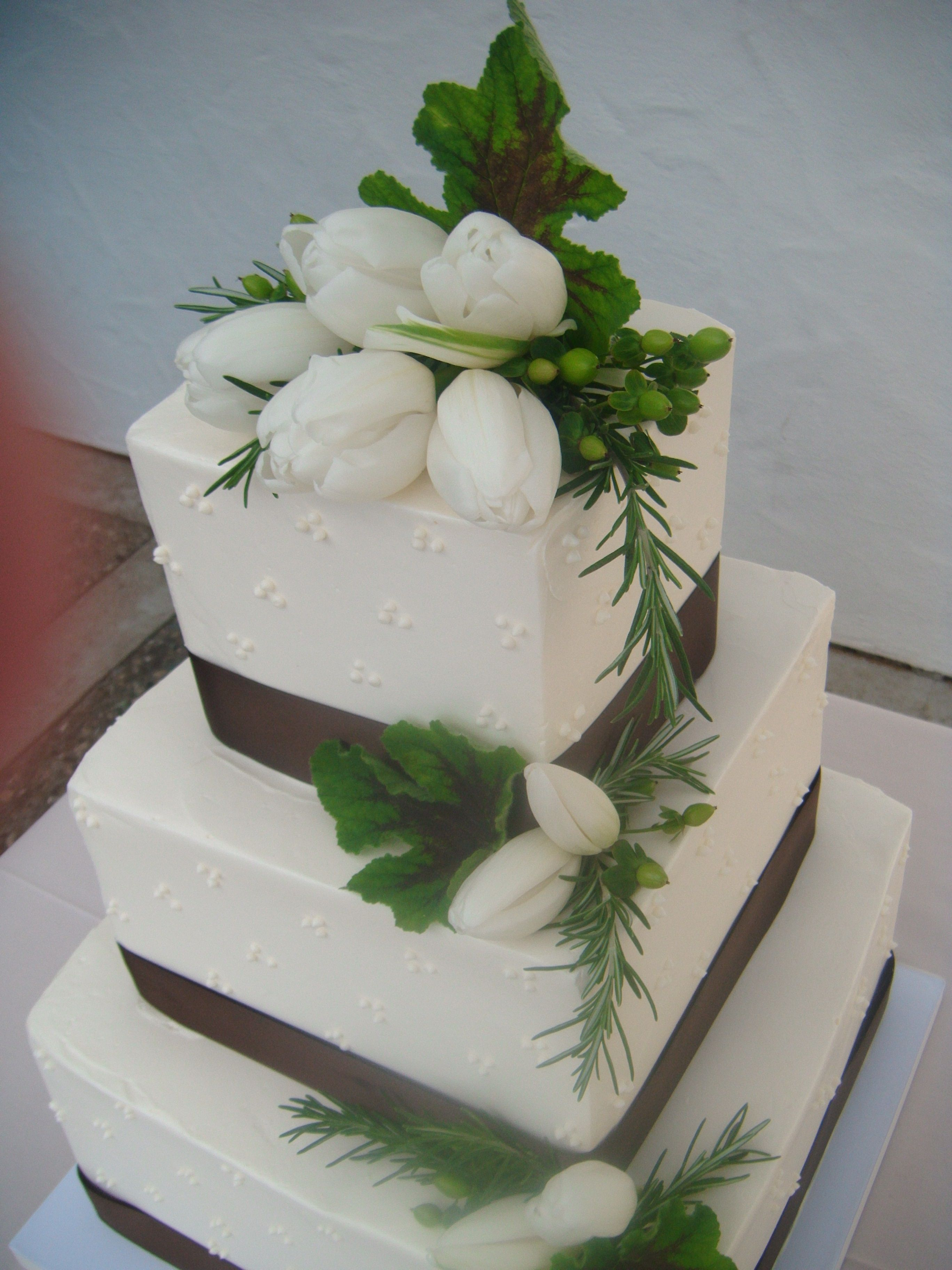 White Flowers Green Leaves Wedding Cake Square Wedding Cakes