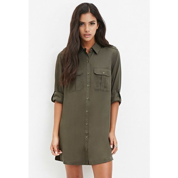 f08e7649d9a Forever 21 Women s Utility-Inspired Shirt Dress ( 30) ❤ liked on Polyvore  featuring dresses