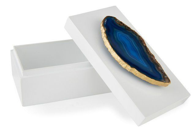 Medium White Lacquer Box w/ Blue Agate