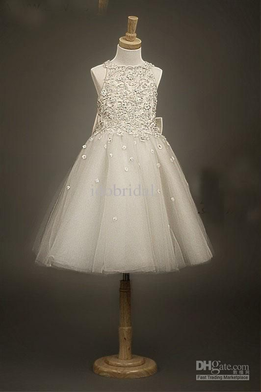 Cheap ivory lace flower girl dress