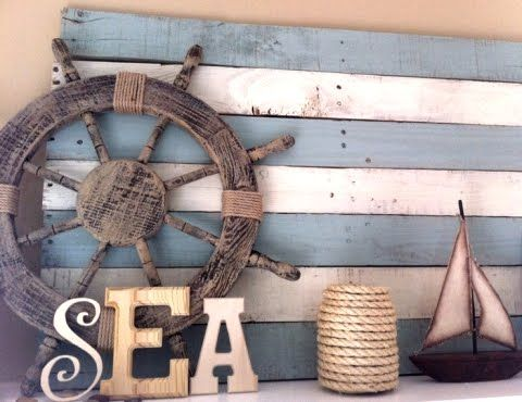Coastal, Beach + Nautical Decor + Interiors, Driftwood + Shell Decor, Crafts, Art + more: DIY Wood Pallet Decor Ideas