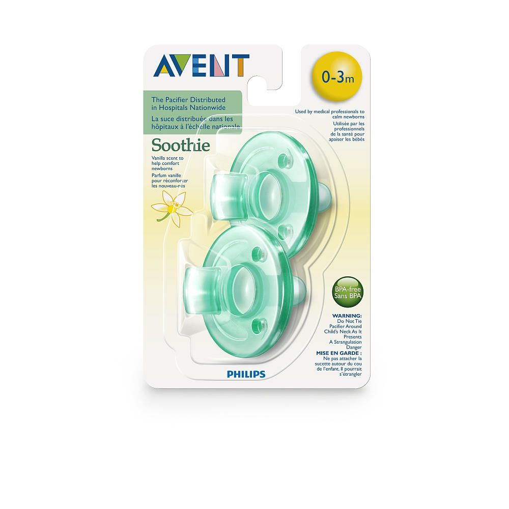 0-3 months Vanilla Scented   2 Piece BPA Free Soothie Pacifier