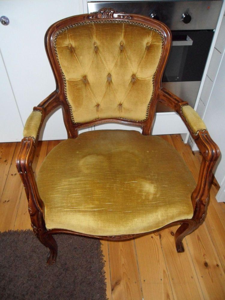 2 Antiker Stuhl Mit Armlehne Bezug Beige Braunes Holz
