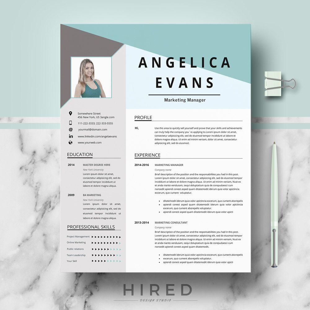 modern resume template  professional resume  cv for word