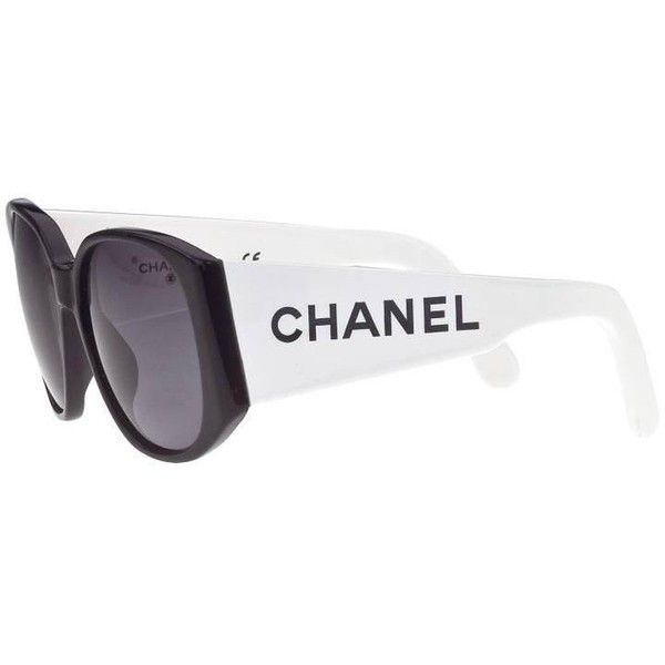 info for new design huge inventory Preowned Chanel Black And White Logo Sunglasses (3.875 DKK ...