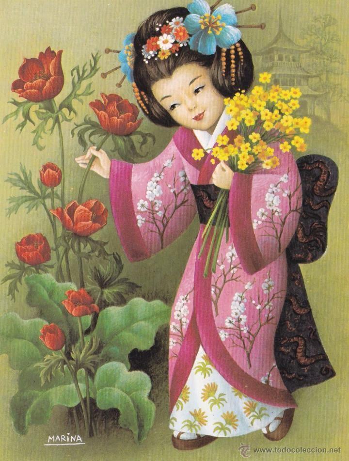Lamina para enmarcar - geisha rosa. marina - l.g. talleda. apia nº d ...