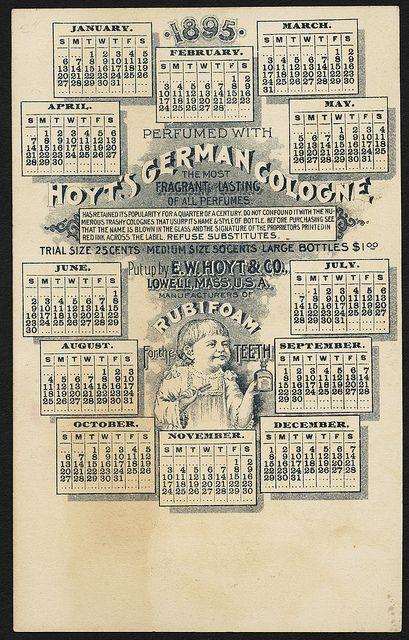 Ladies Perfumed Calendar 1895 Back Perfume Calendar Boston