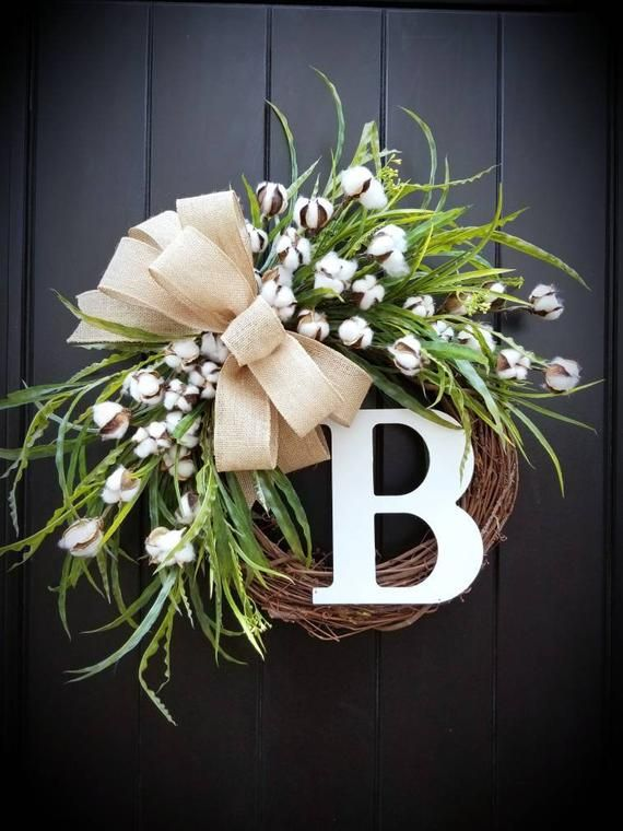 Photo of Farmhouse Spring Wreath with cotton and initial, Farmhouse green front door wreath with monogram, Front door green wreath with burlap bow