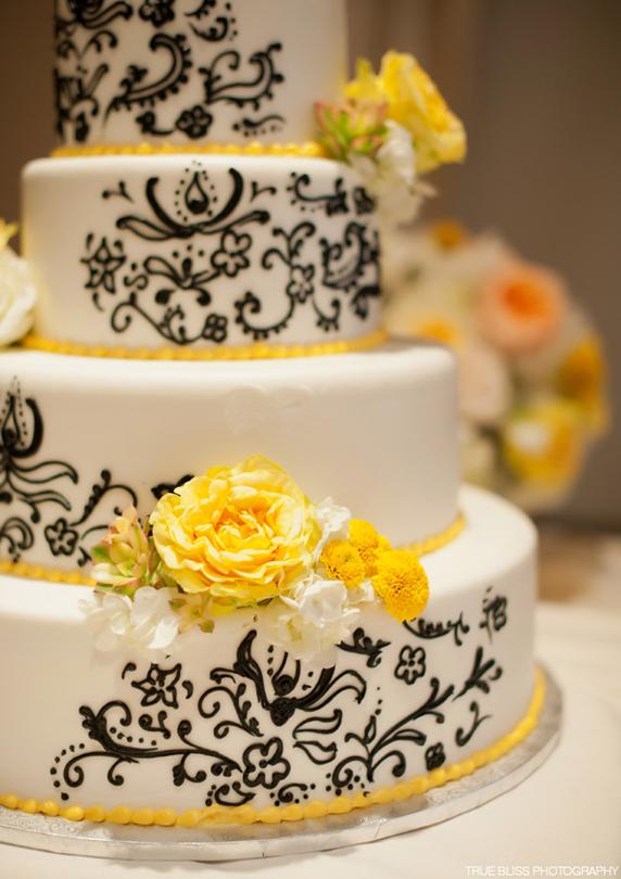Black Henna Patterned Yellow & White Wedding Cake | Cake Decorating ...