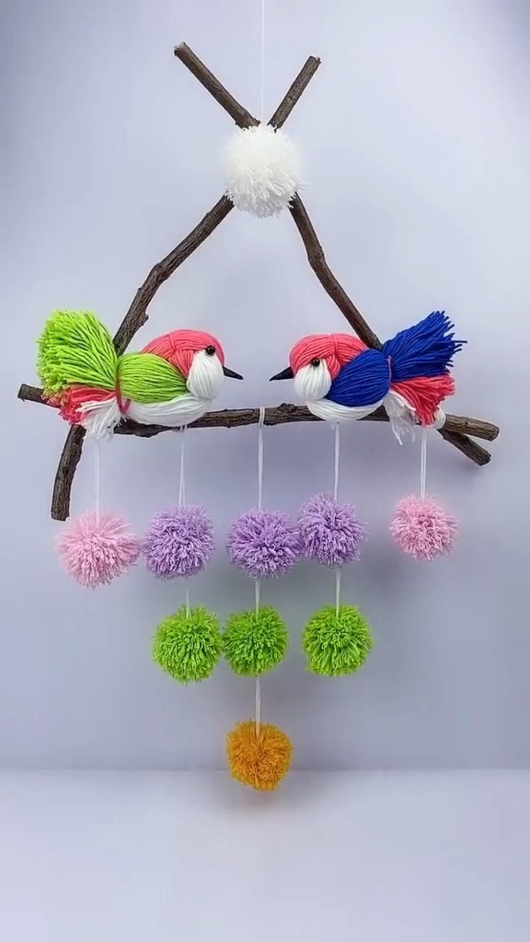 Handmade Acrylic Yarn Birds Wall Hanging