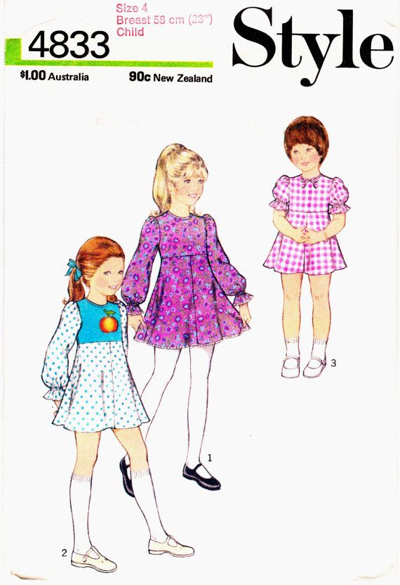 70s Boho Girls Fit and Flare Party Dress Pattern Style 4833 Vintage ...