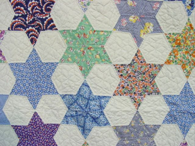 view of the fabrics and the quilting | Patchwork | Pinterest ... : hexagon star quilt pattern - Adamdwight.com
