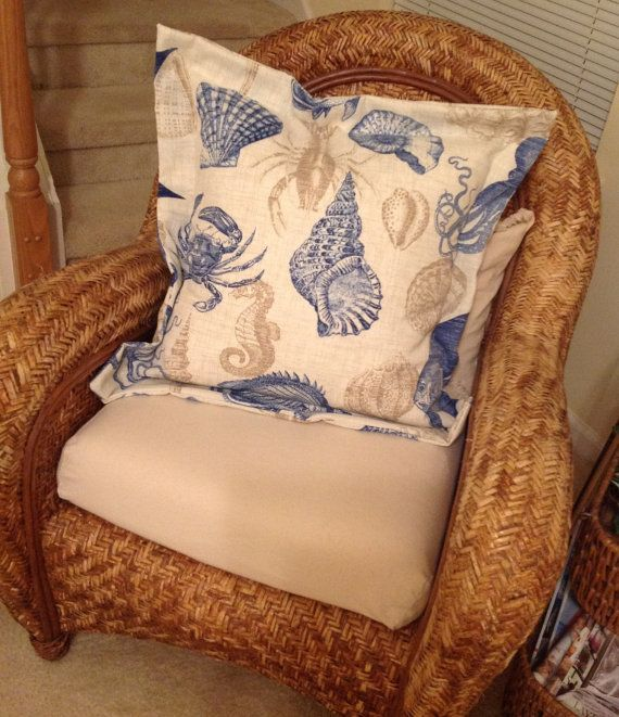 """FABULOUS Indoor/outdoor COASTAL 26.5"""" square DOWN Pillow on Etsy, $145.00"""