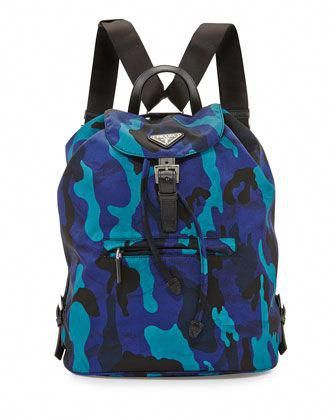 7ca7b2b4dd6 Tessuto Camouflage Backpack, Blue (Royal) by Prada at Neiman Marcus.   Pradahandbags