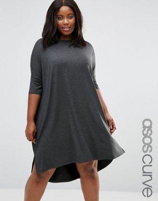 fec1d7d8612 CURVE Oversize T-Shirt Dress with Curved Hem