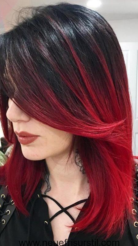 Schwarz Rot Ombre Haarfarbe Frisuren Pinterest Hair Coloring