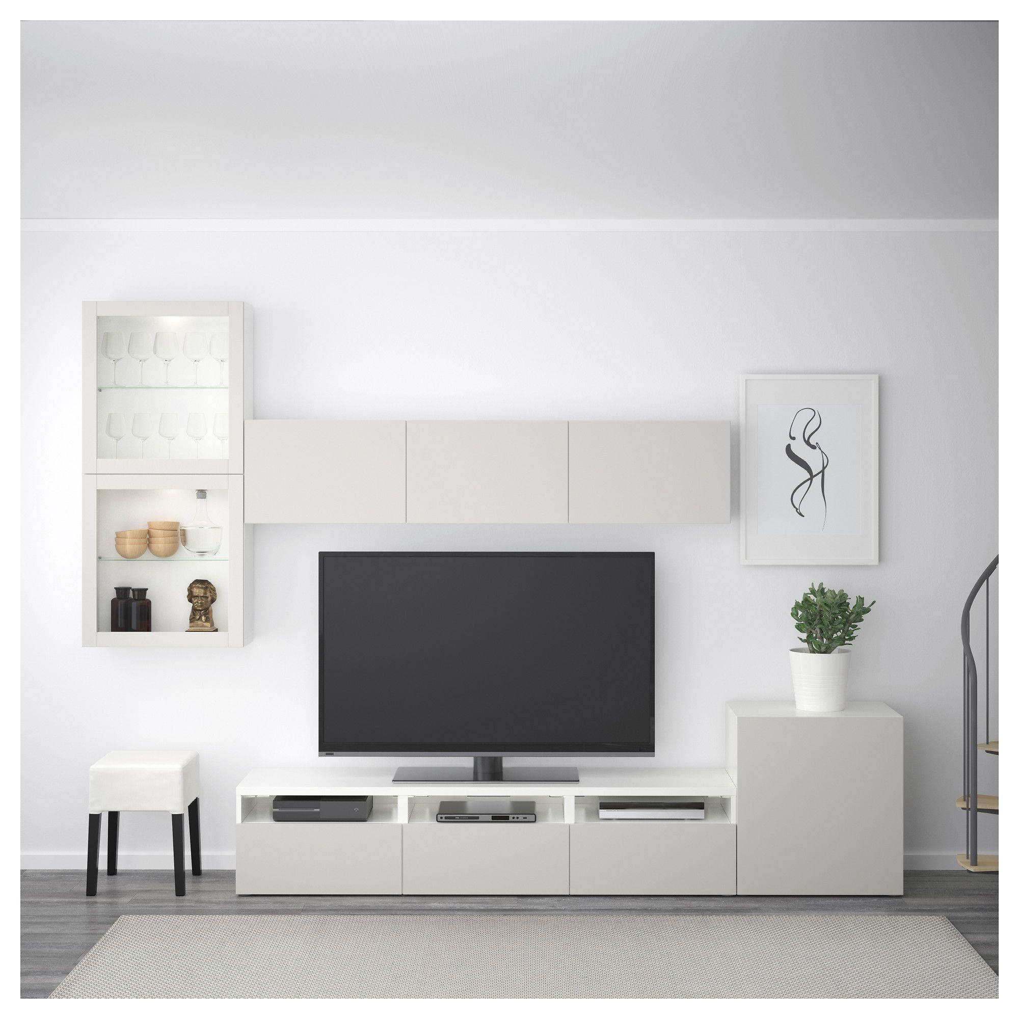 Besta Tv Storage Combination Glass Doors White Lappviken Light