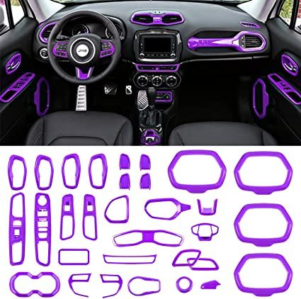 Danti Car Interior Accessories Decoration Cover Trim Air Conditioning Vent Decoration & Door Speaker & Water Cup Holder & Window Lift Button Covers fit for Jeep Renegade 2015-2020 (Purple)
