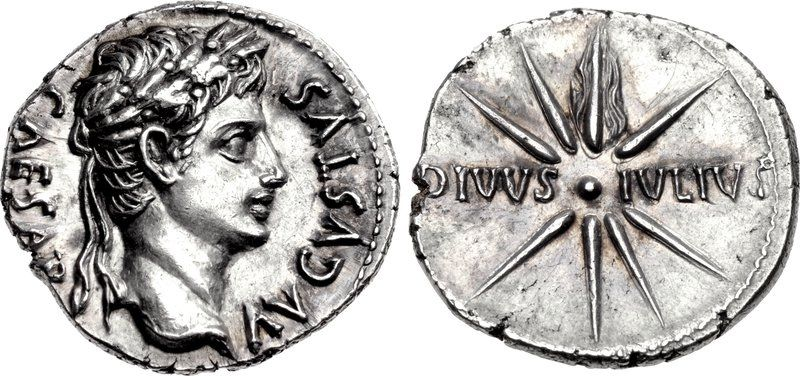 An Exceptional Roman Silver Denarius of Augustus (27 B.C.E.-14 C.E.), the Julian Star Featured on the Reverse Struck circa 18 BC. CAESAR AVGVSTVS, laureate head right / DIVVS • IVLIVS, comet with eight rays and tail. RIC I 102 (Colonia Patricia?)... The 'Julian star' was the comet that appeared in the evening skies shortly after the assassination of Julius Caesar in 44 BC. This was taken as a sign of his divinity.