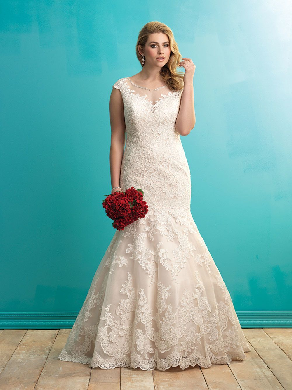 Allure Bridals plus size wedding dress with illusion neckline