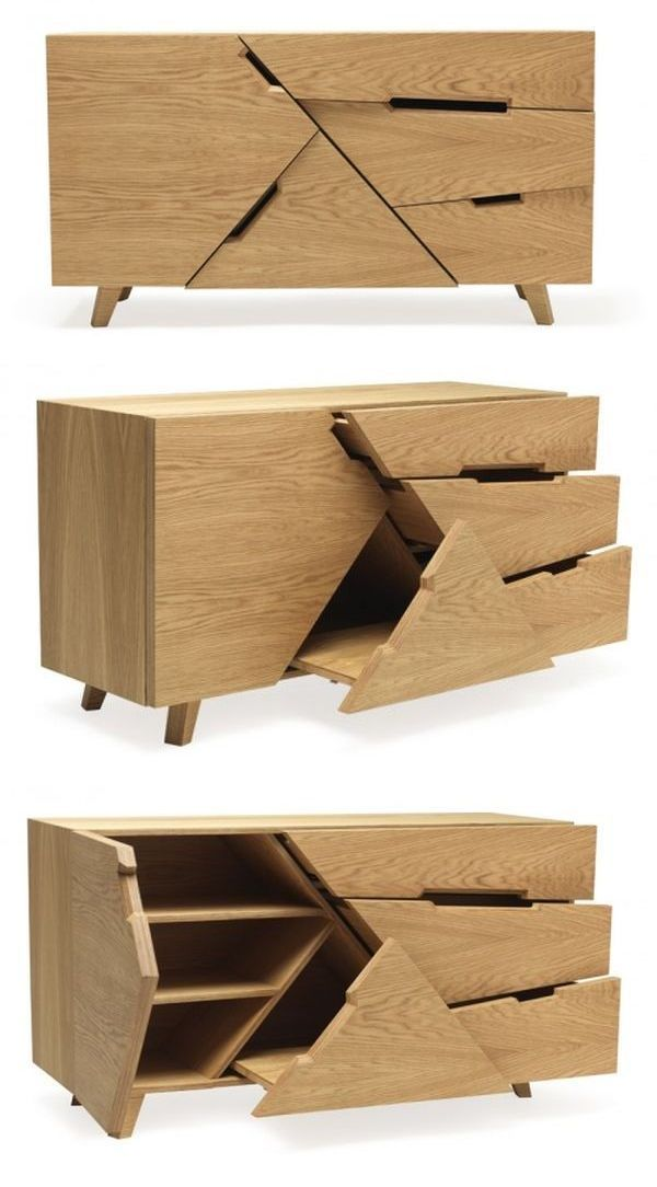Tangram cabinet replicates Chinese puzzle with dollops of practicality