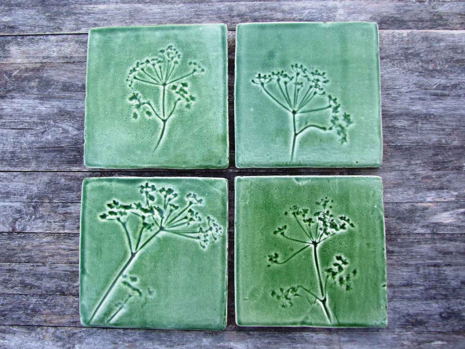 Green cow parsley ceramic tile handmade queen annes lace green cow parsley ceramic tile handmade queen annes lace botanical tiles kitchen bathroom dailygadgetfo Choice Image