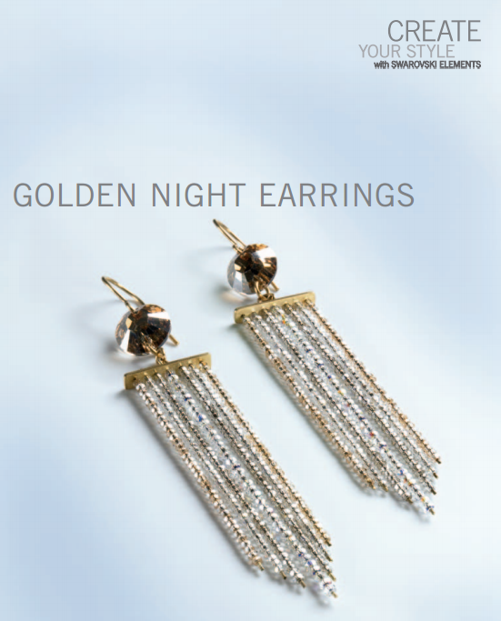 Swarovski Crystal Golden Night Earrings Design And Free Instructions