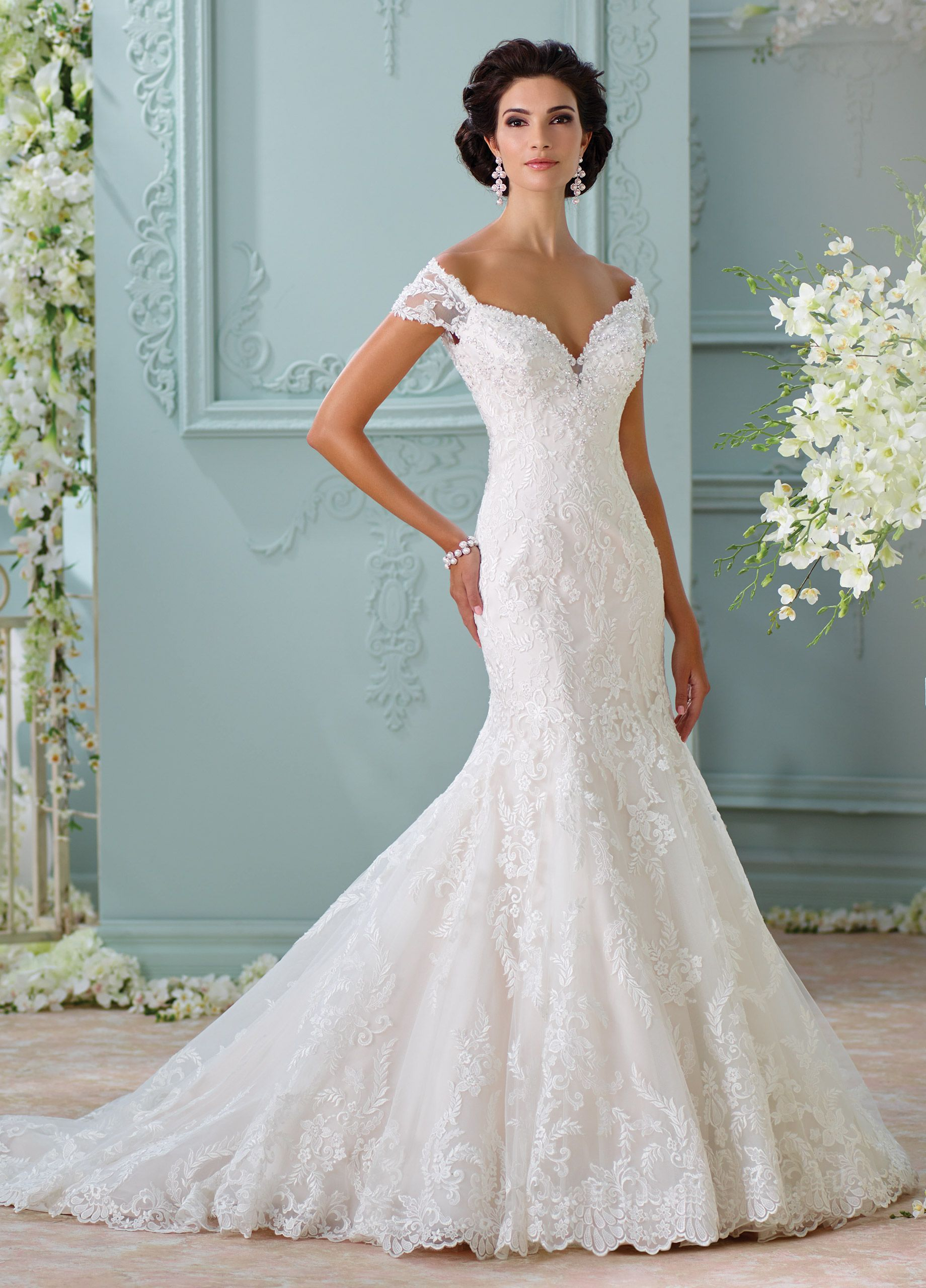 Off-The-Shoulder Embroidered Lace Wedding Dress- 116201 Aura ...