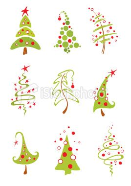 A Collection Of Vector Modern Christmas Trees Christmas Doodles Christmas Drawing Modern Christmas Tree