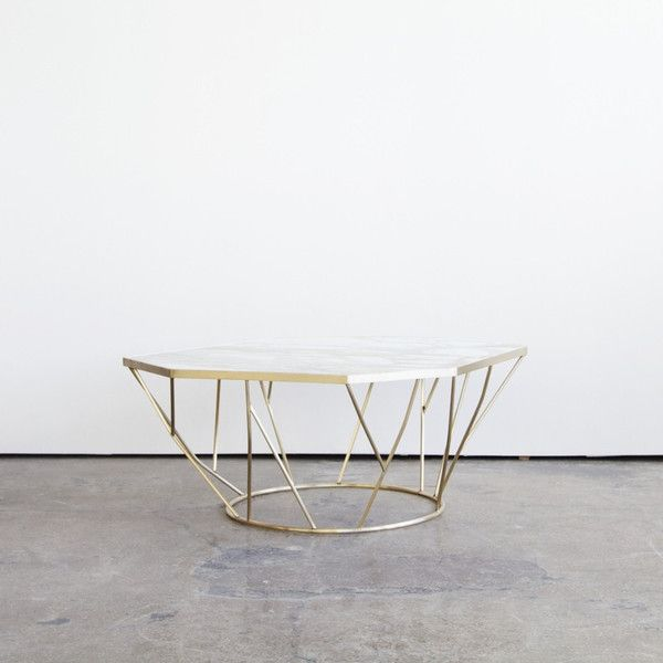 "Facet Table by James Devlin Studio. Dimensions: 30""L x 40""W x 16.5""H. Made in bronze and white marble."