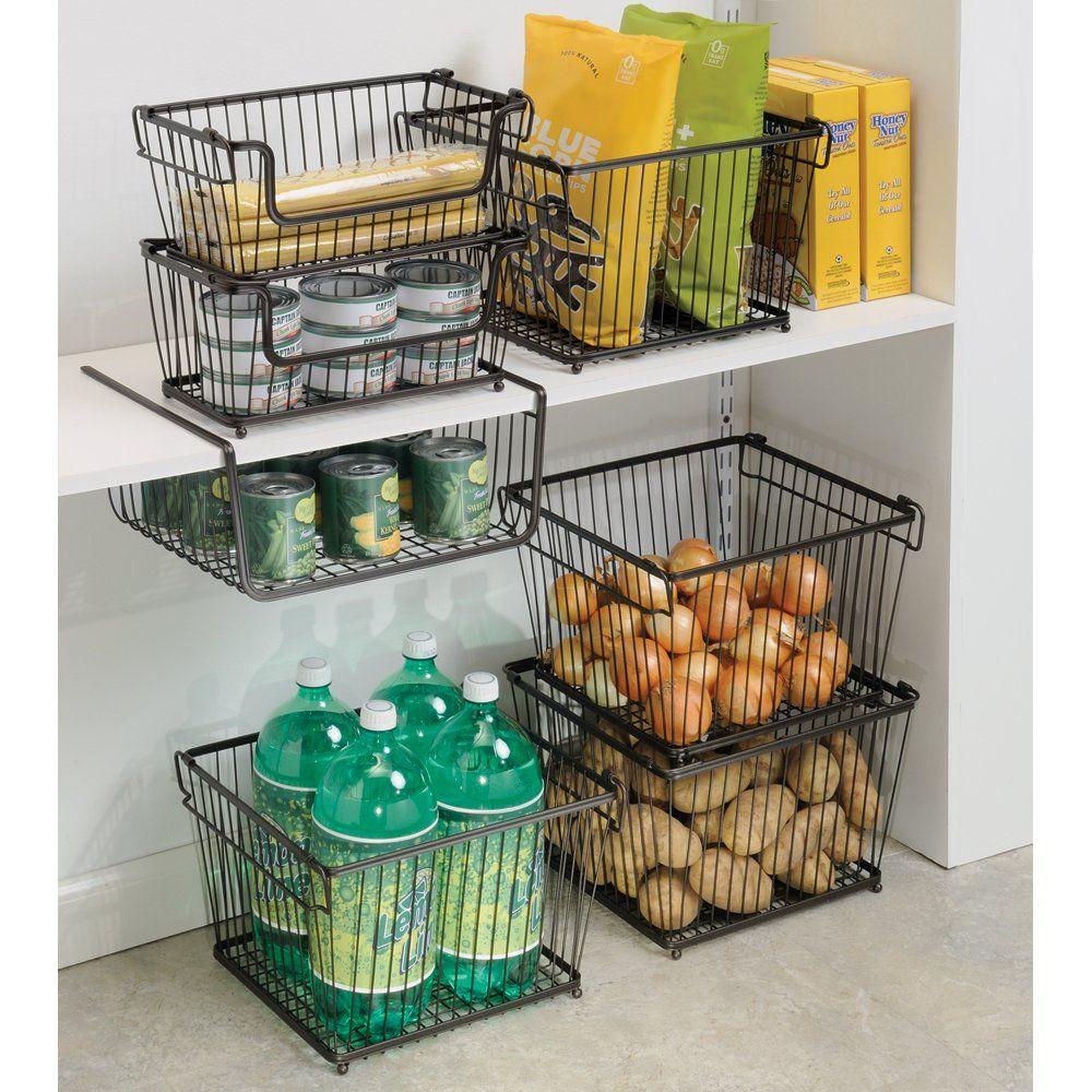 Amazon.com   InterDesign York Lyra Kitchen Pantry Large Holder Basket,  Bronze   Open Home Storage Bins