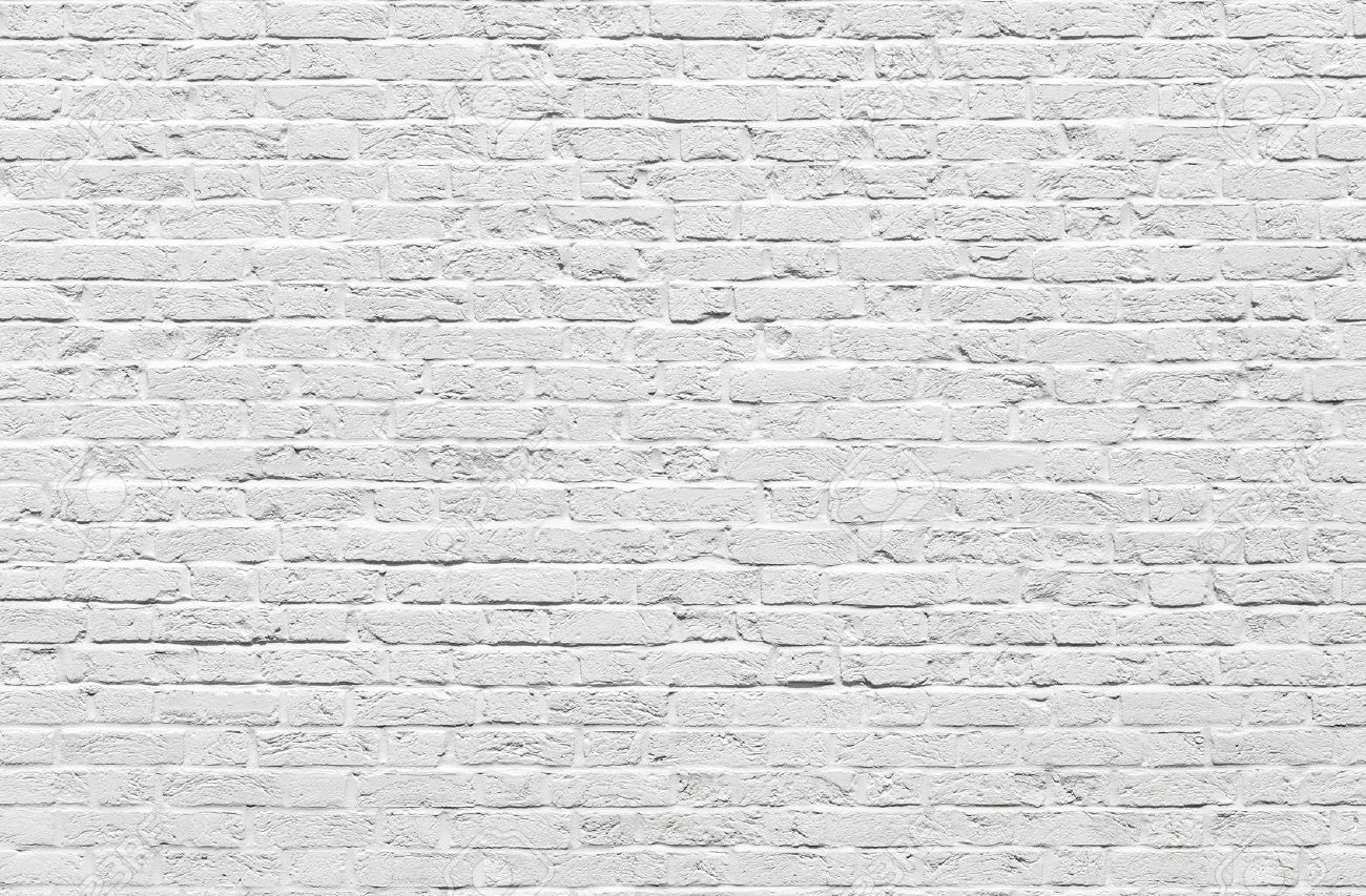 White brick wall texture or background Stock