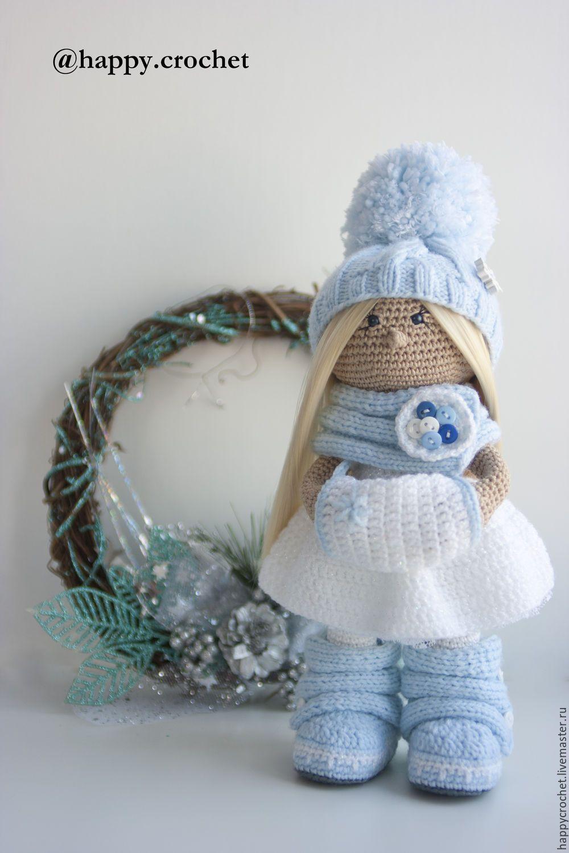 купить снежинка голубой белый кукла ручной работы вязание