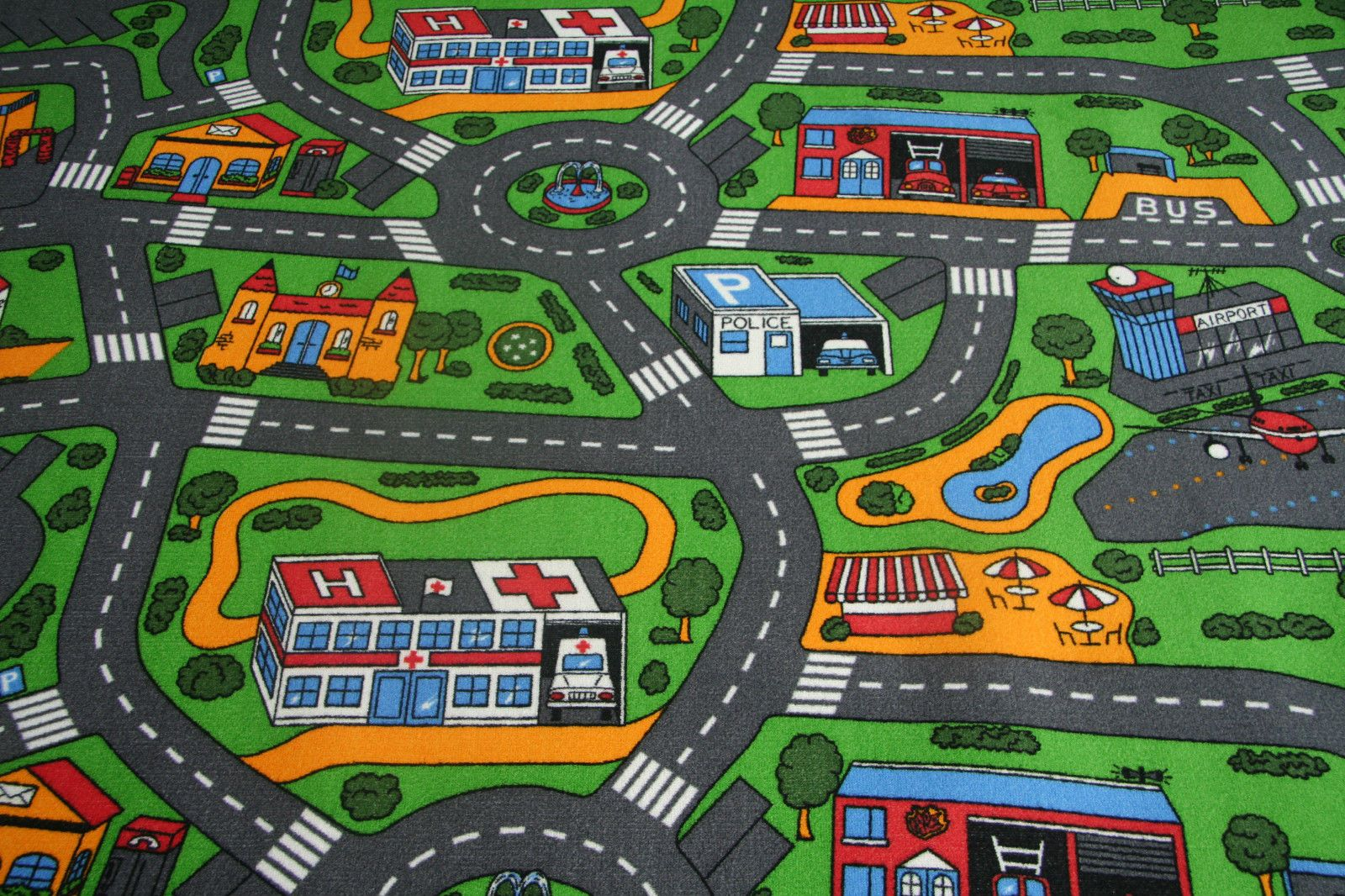 Town Road Kids Play Car Rug No Smell Back Mat For Playing Cars