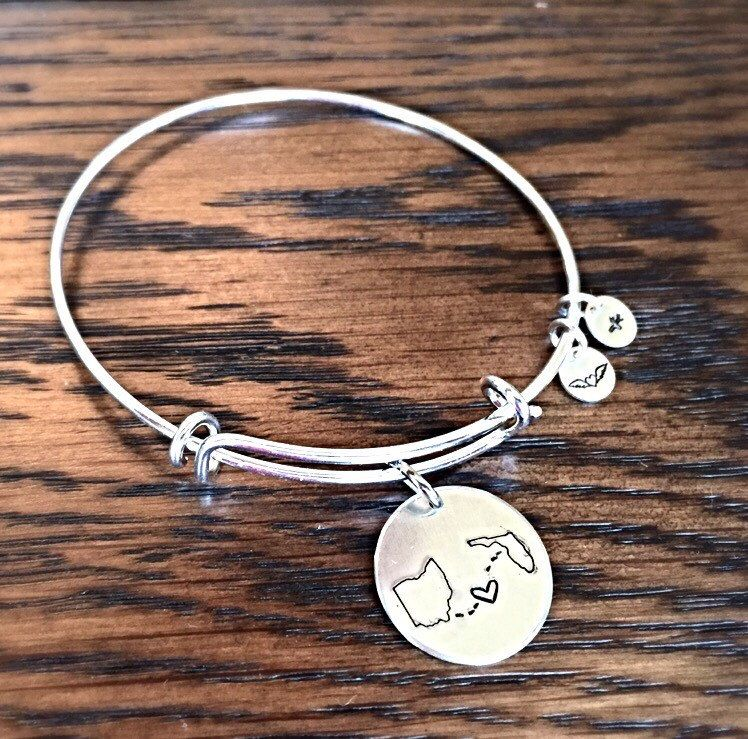 Custom State To State Bangle Bracelet Choose Your States