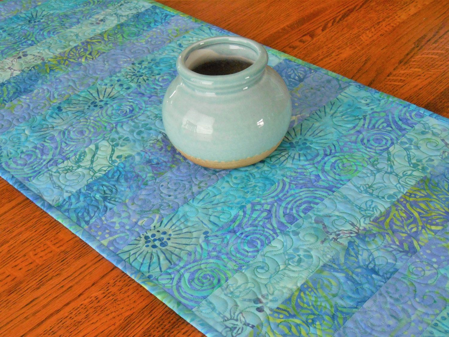 Quilted Batik Table Runner In Aqua Blue Lavender Coffee Table Runner Dining Table Decor B Batik Table Runners Quilted Table Runners Summer Table Decorations