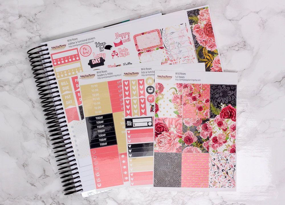 Wilde Rosen planner sticker kit / Erin Condren sticker kit / Happy Planner by PrettyEasyPlanning on Etsy