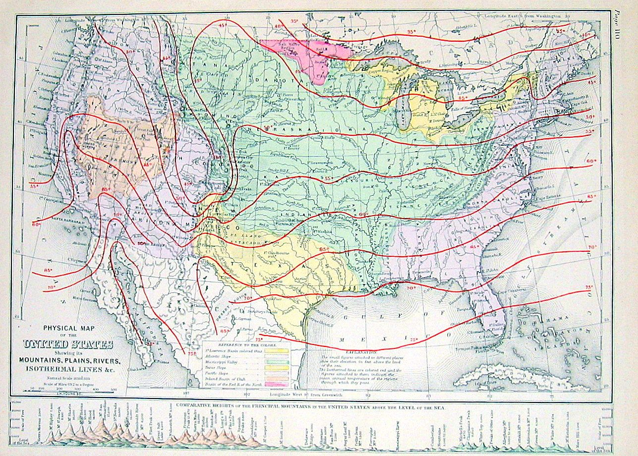 1873 Physical Map of the United States | Maps and Minerals (and ...